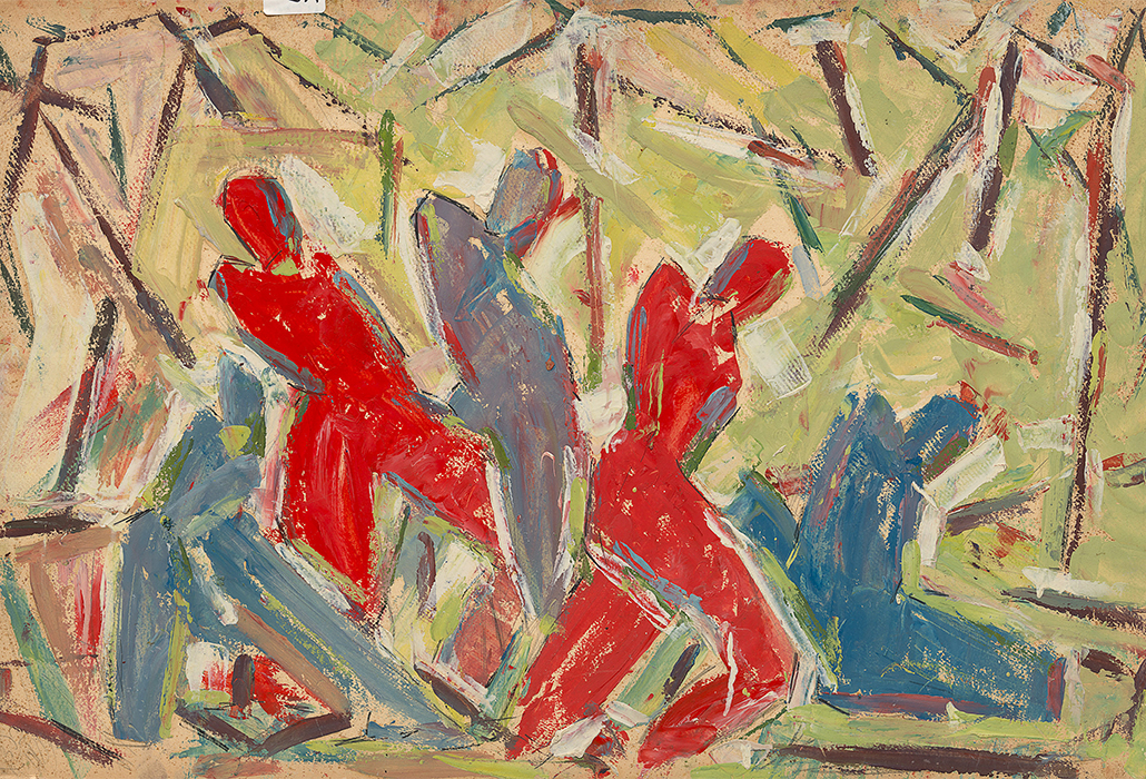 Roger Kemp Music movement 1 1936–40 oil and pencil on cardboard 86.4 x 55.8 cm irreg. National Gallery of Victoria, Melbourne Presented by the Kemp Trust through the Australian Government's Cultural Gifts Program, 2014  © The Estate of Roger Kemp