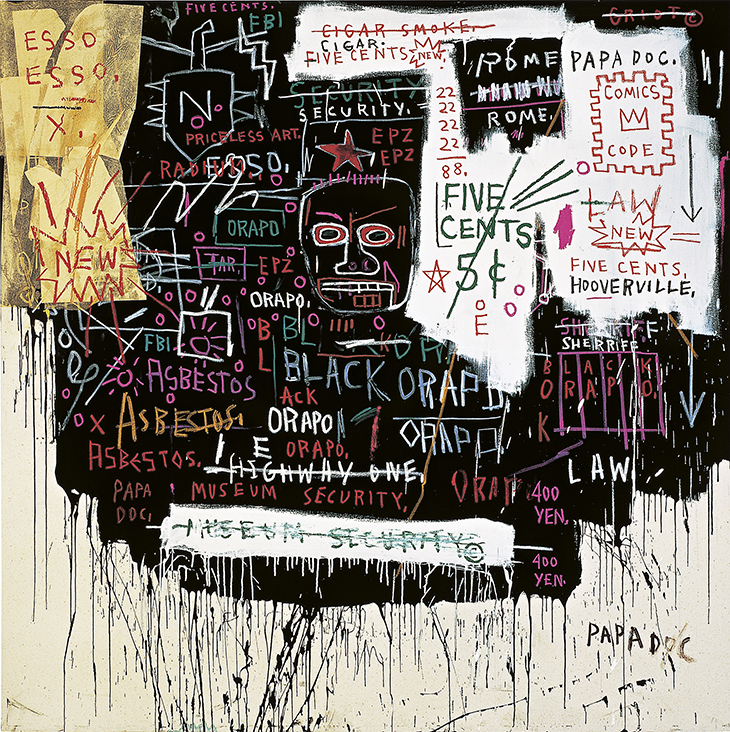 Jean-Michel Basquiat Museum security (Broadway meltdown) 1983 acrylic, oilstick, and collage on canvas 213.0 x 213.0 cm Private collection © Estate of Jean-Michel Basquiat. Licensed by Artestar, New York