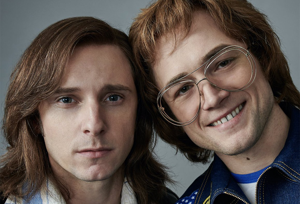 Taron Egerton as Elton John and Jamie Bell as Bernie Taupin in Rocketman from Paramount Pictures.