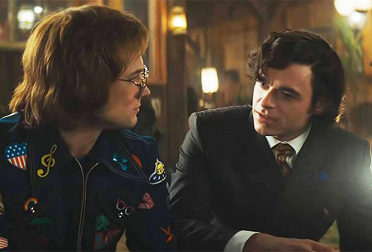 Taron Egerton as Elton John and Richard Madden as Alan Reid in Rocketman from Paramount Pictures