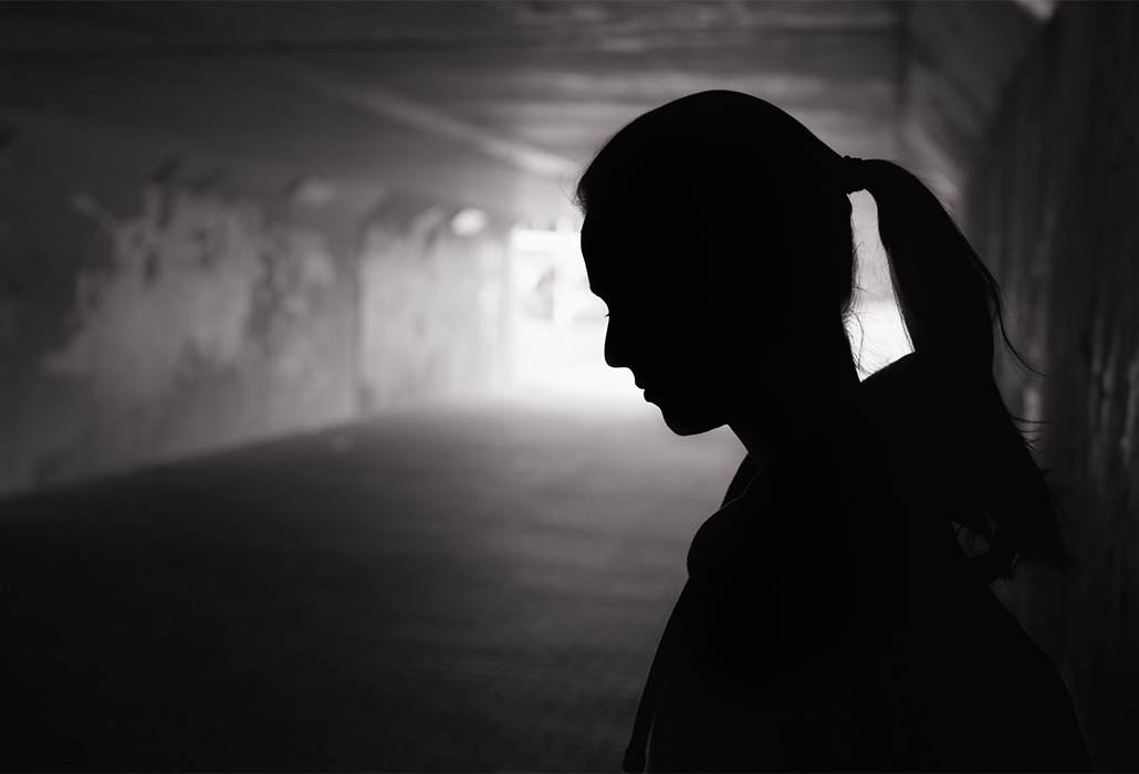 Depressed young women in the tunnel