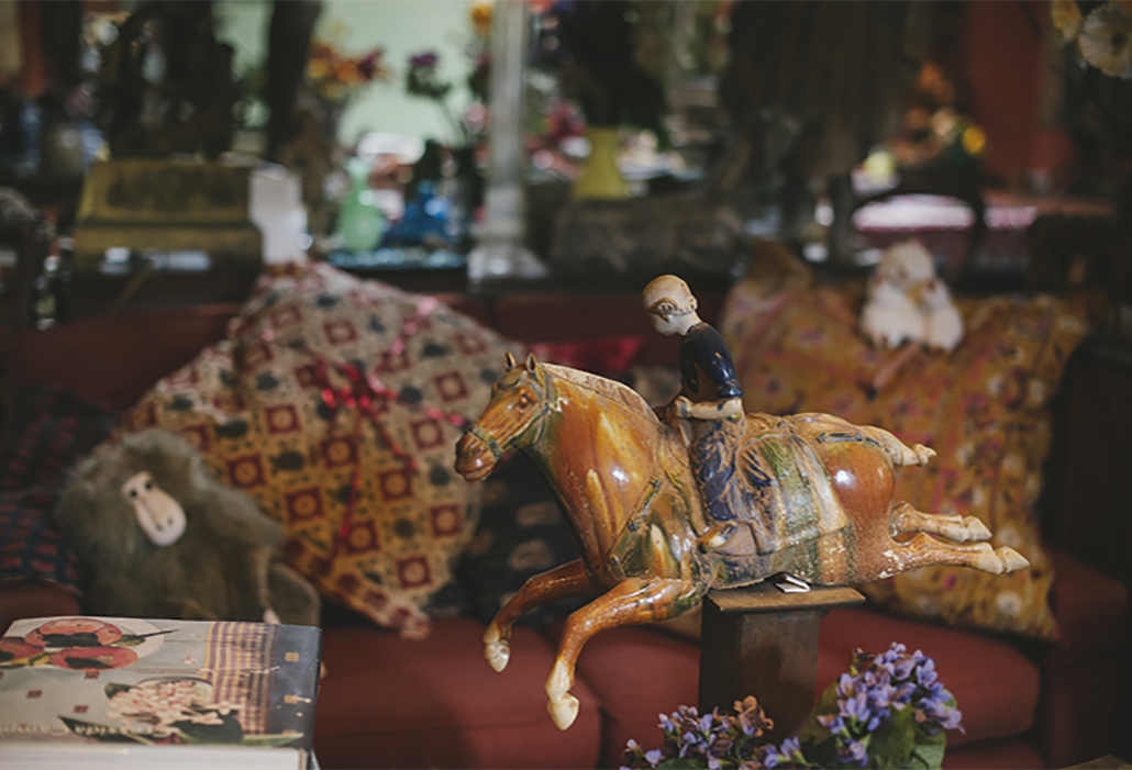 Margaret Olley's studio, her Tang dynasty horse and rider was a special focus of the sitting area