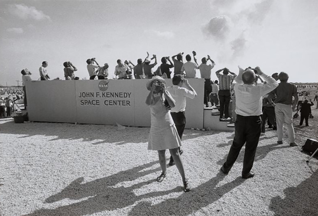 Garry Winogrand, (American, 1928–1984), Apollo 11 Moon Shot, Cape Kennedy, Florida, 1969. Gelatin silver print, 10 3/4 x 15 7/8 in. (27.3 x 40.4 cm). The Metropolitan Museum of Art, Purchase, Vital Projects Fund Inc. Gift, through Joyceand Robert Menschel, 2014 © The Estate of Garry Winogrand, courtesy Fraenkel Gallery, San Francisco