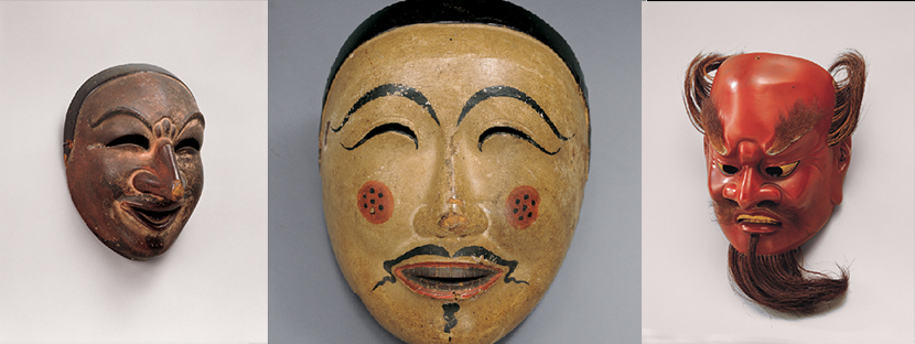 Three bugaku masks, late 1100s, lacquered wood, Kasuga Taisha shrine, Important Cultural Property Photo courtesy of Kasuga Taisha Shrine