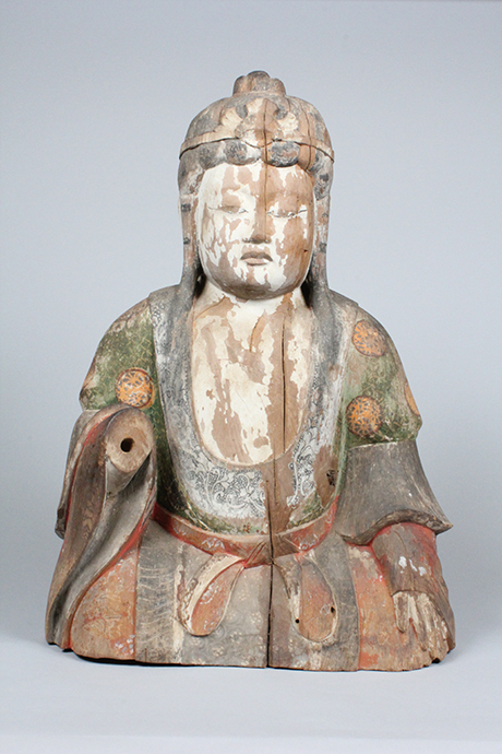 Seated Shinto deity (female deity), 1100s, wood, Niu Kawakami shrine