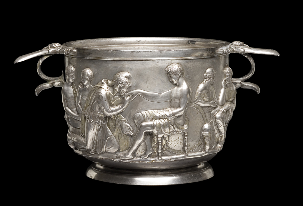Priam and Achilles, Roman silver cup, 1st century AD, National Museum of Denmark Photograph: Roberta Fortuna and Kira Ursem © National Museet Denmark