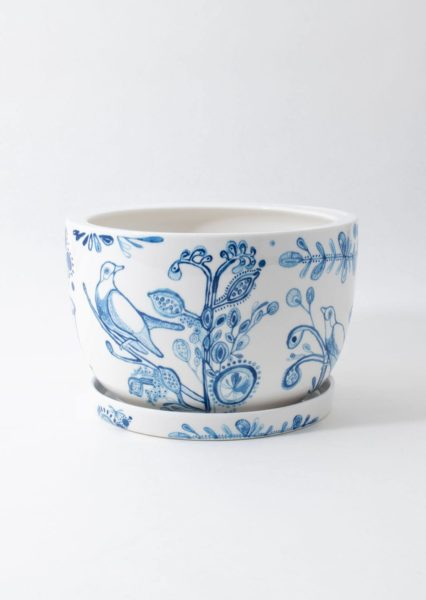 Decorative Plant Pot Painted Indigo