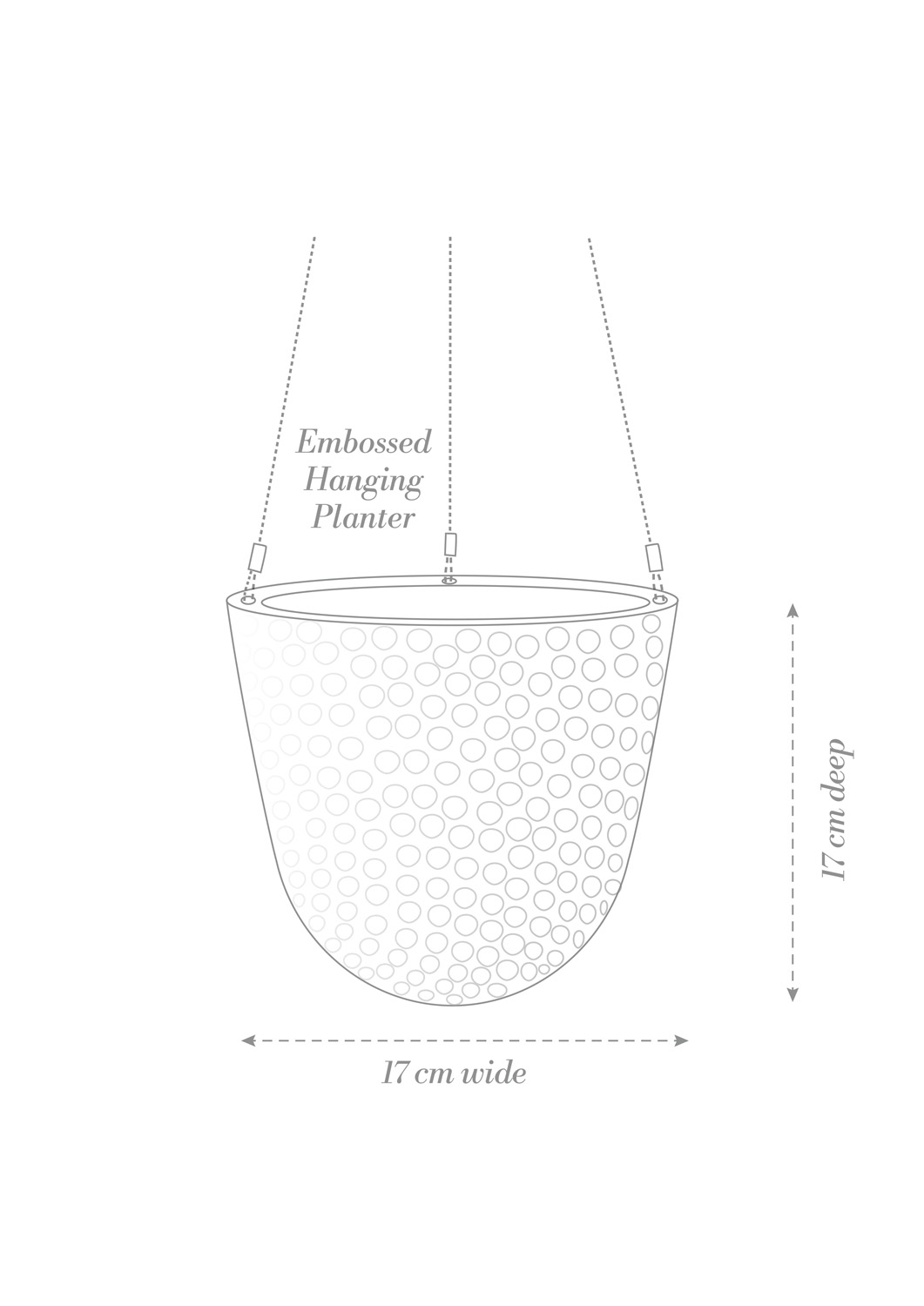 Embossed Hanging Planter Product Diagram