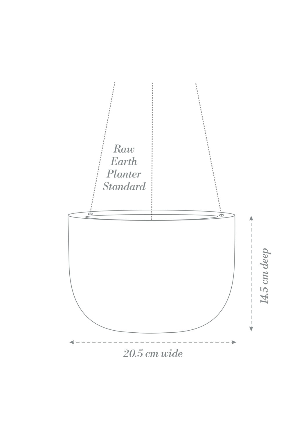 Raw Earth Hanging Planter Small Product Diagram