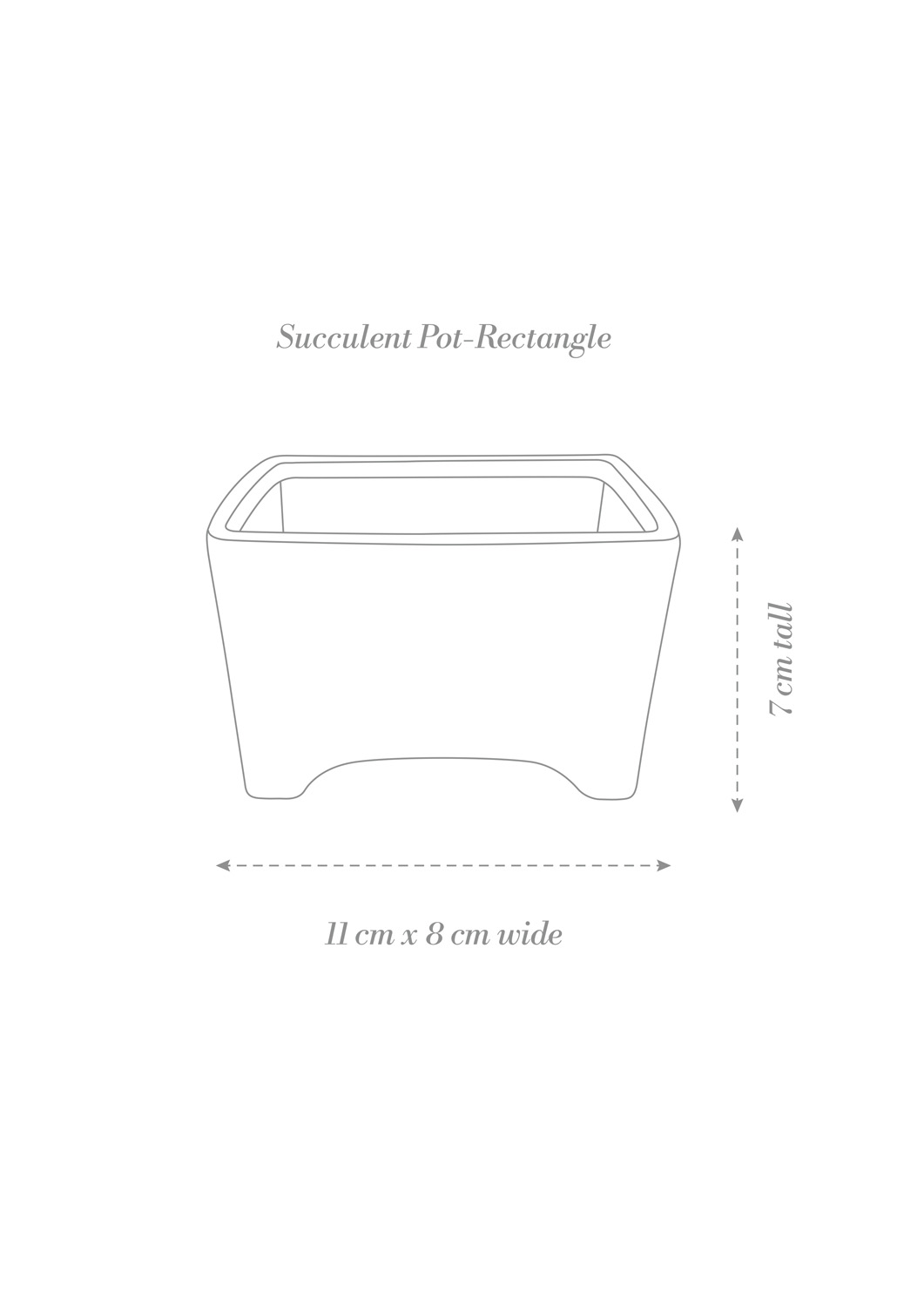 Succulent Pot Rectangle Product Diagram