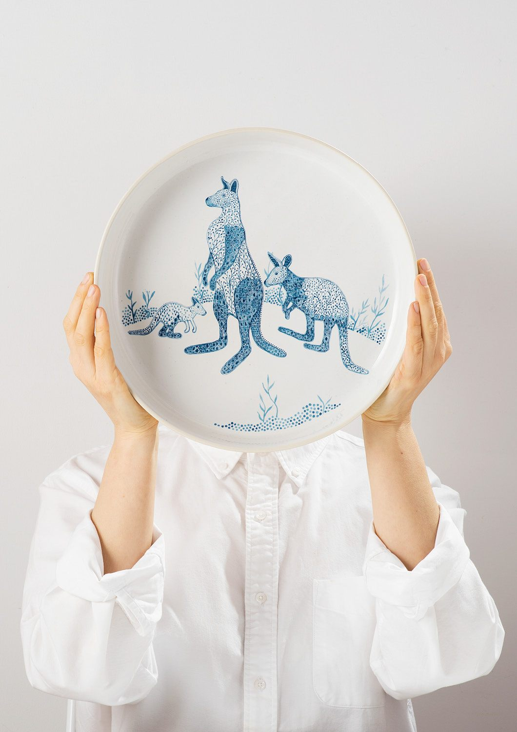 Angus & Celeste Blue Roos Server Bowl