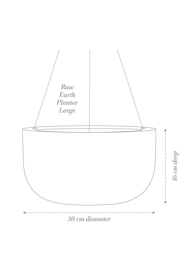 Raw Earth Hanging Planter Large Product Diagram