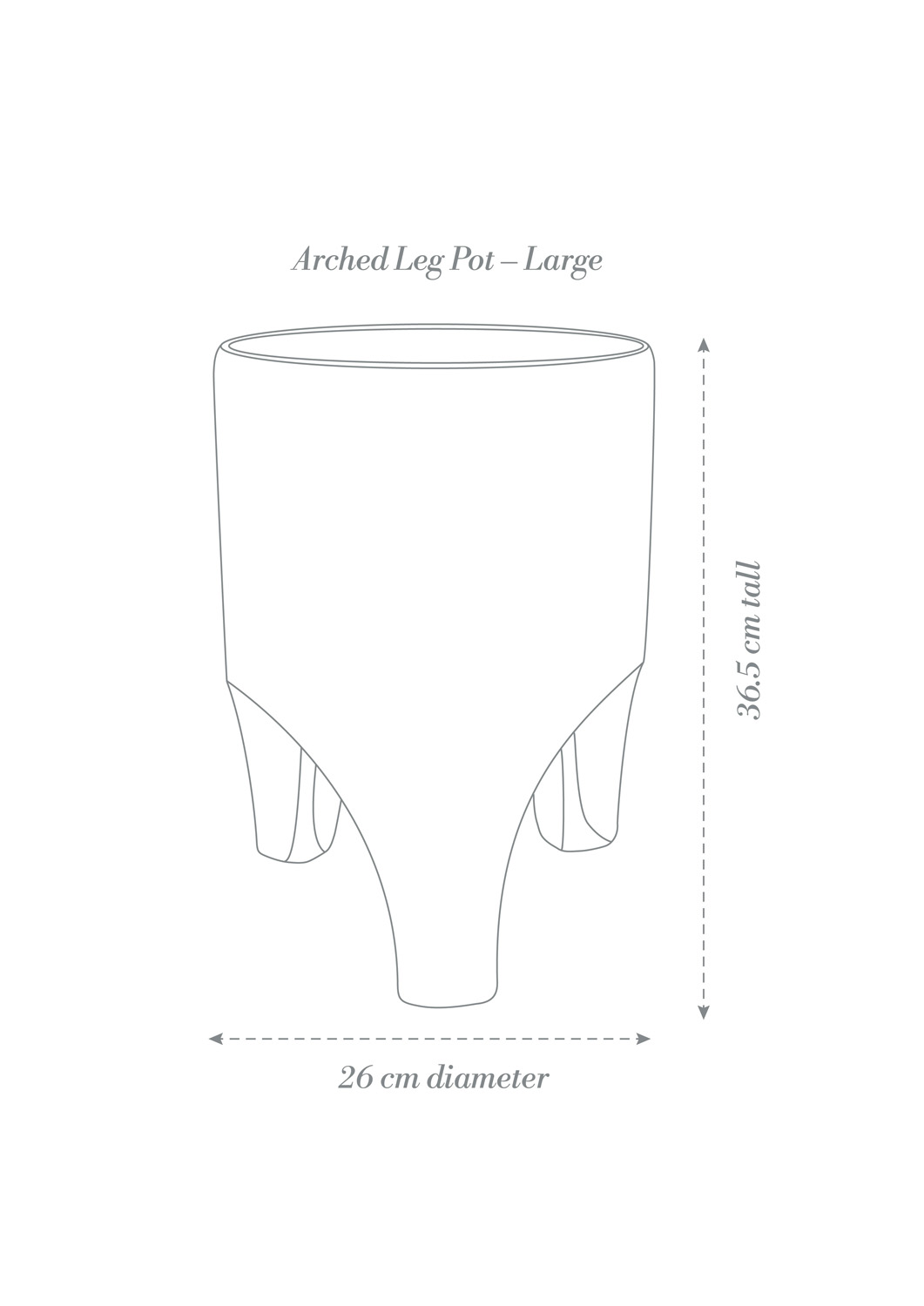 Arched Leg Pot Large Product Diagram B