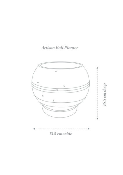 Artisan Ball Plant Pot Product Diagram