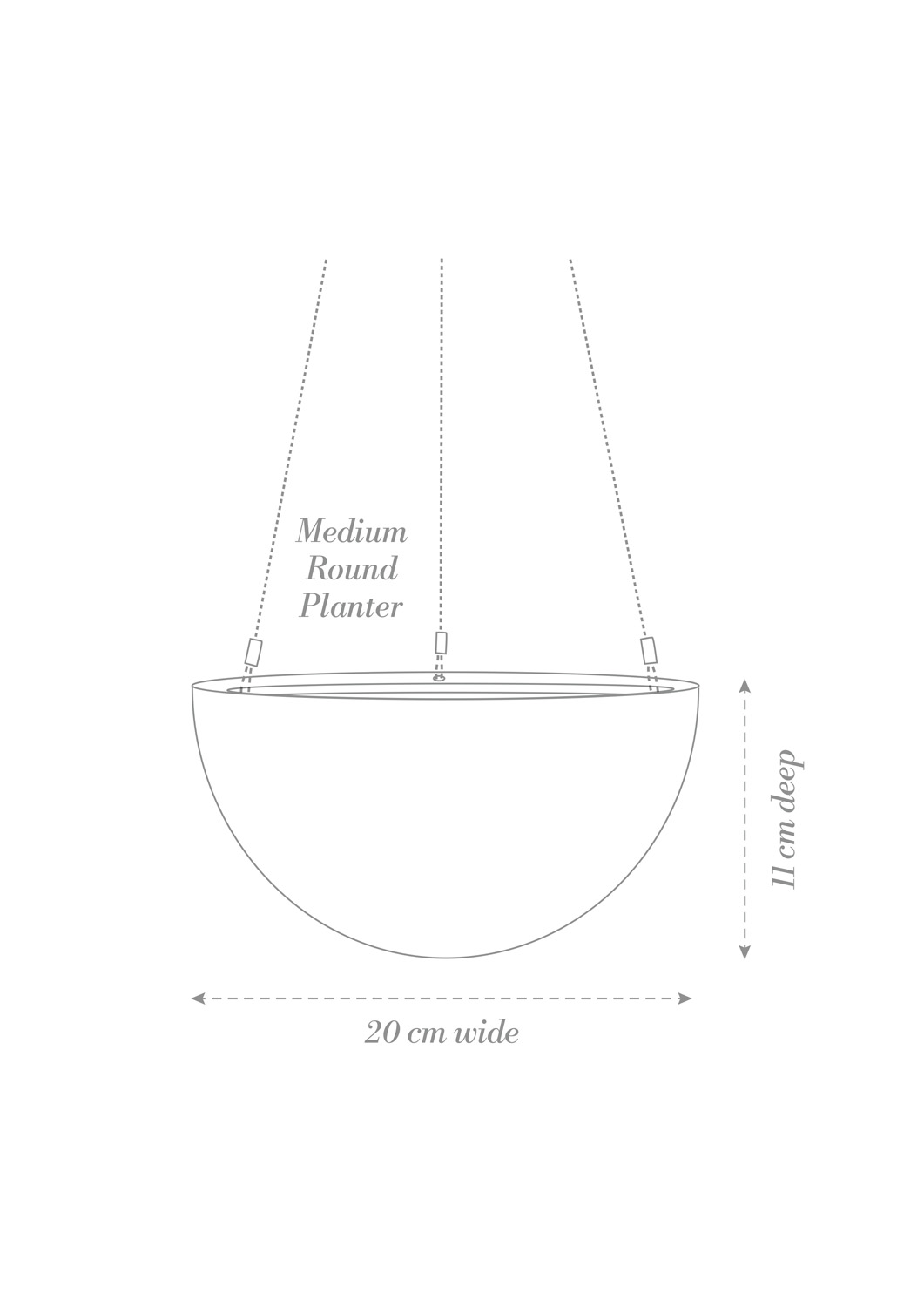 Hanging Planter Medium Product Diagram