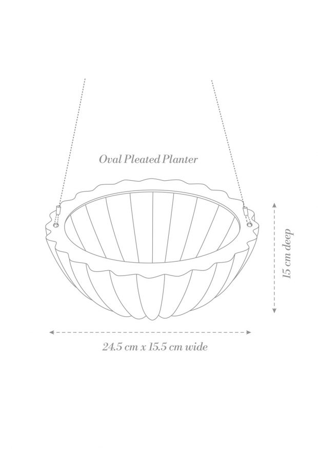 Oval Pleated Hanging Planter Product Diagram