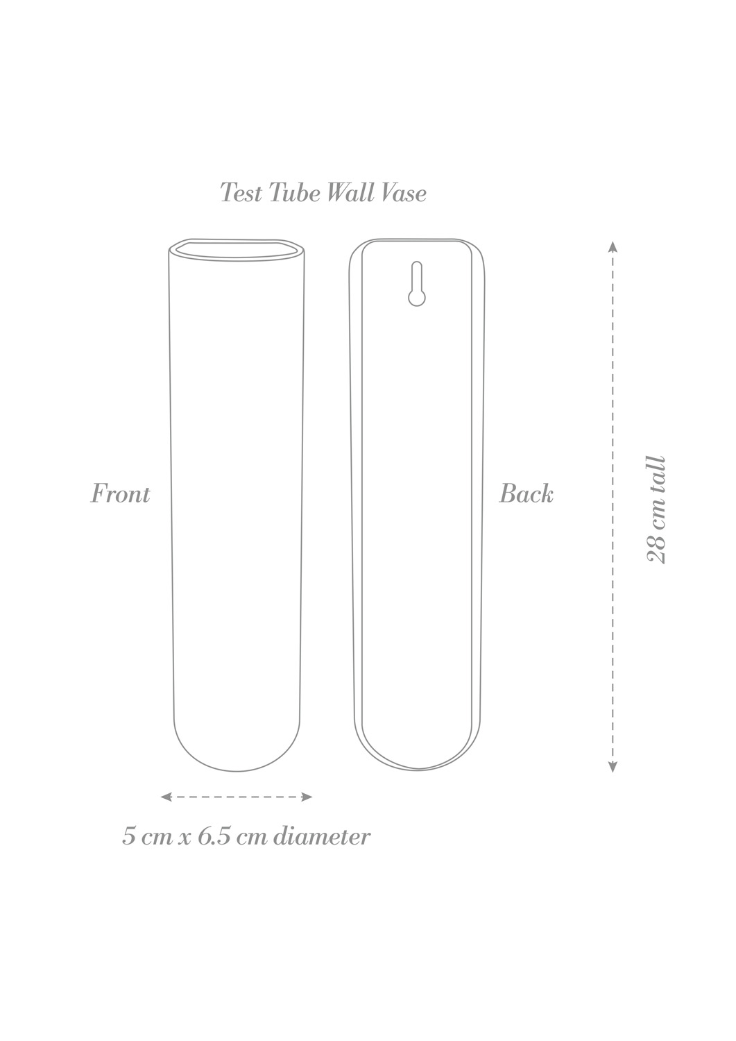 Test Tube Wall Vase Product Diagram