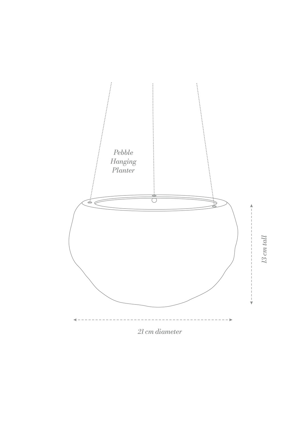 Decorative Pebble Hanging Planter Product Diagram