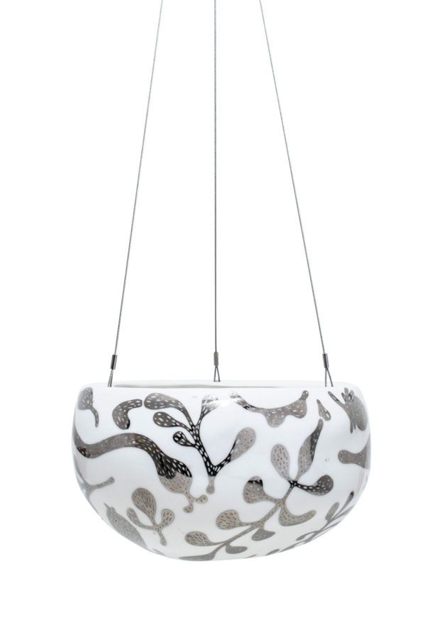 Decorative Pebble Hanging Planter Silver Serpent