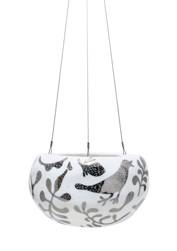 Decorative Pebble Hanging Planter Silver SerpentDecorative Pebble Hanging Planter Silver Serpent