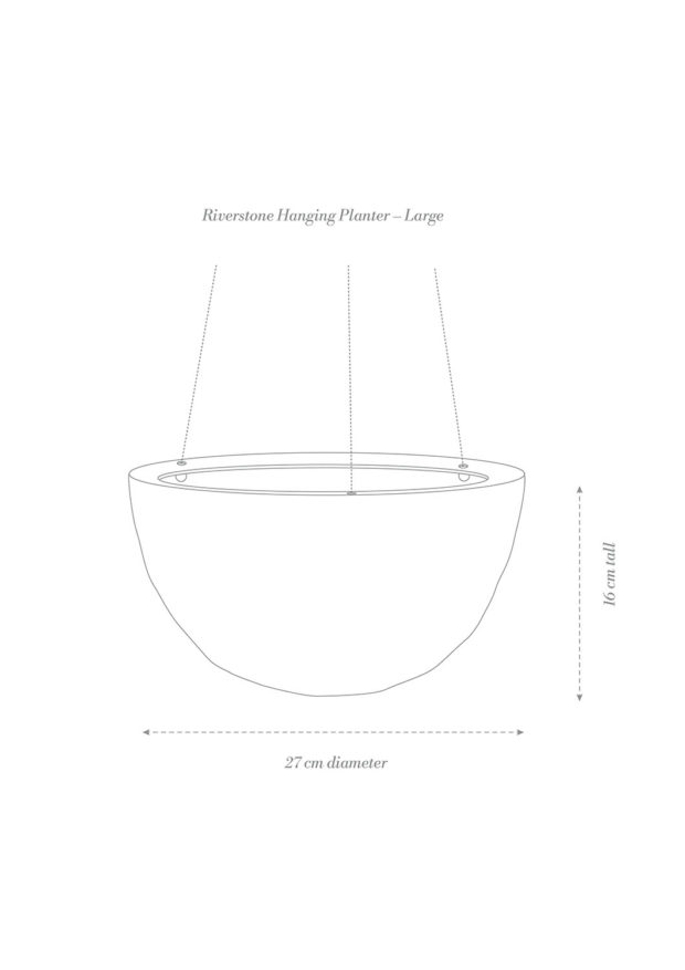 Riverstone Hanging Planter Large Product Diagram