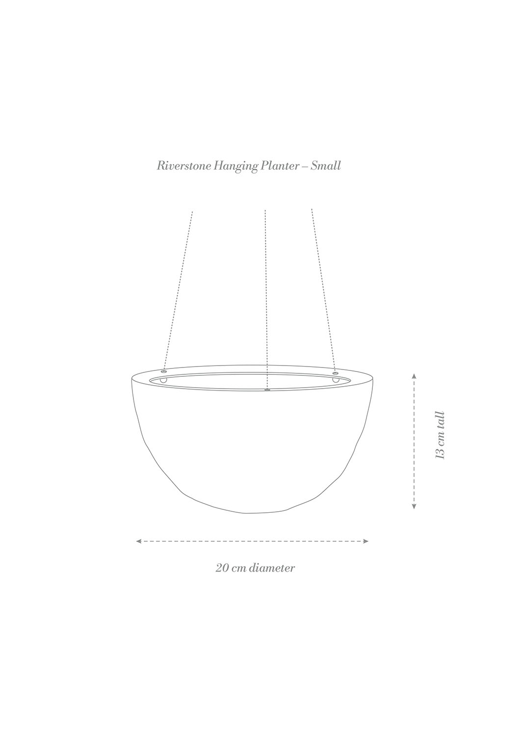 Riverstone Hanging Planter Small Product Diagram