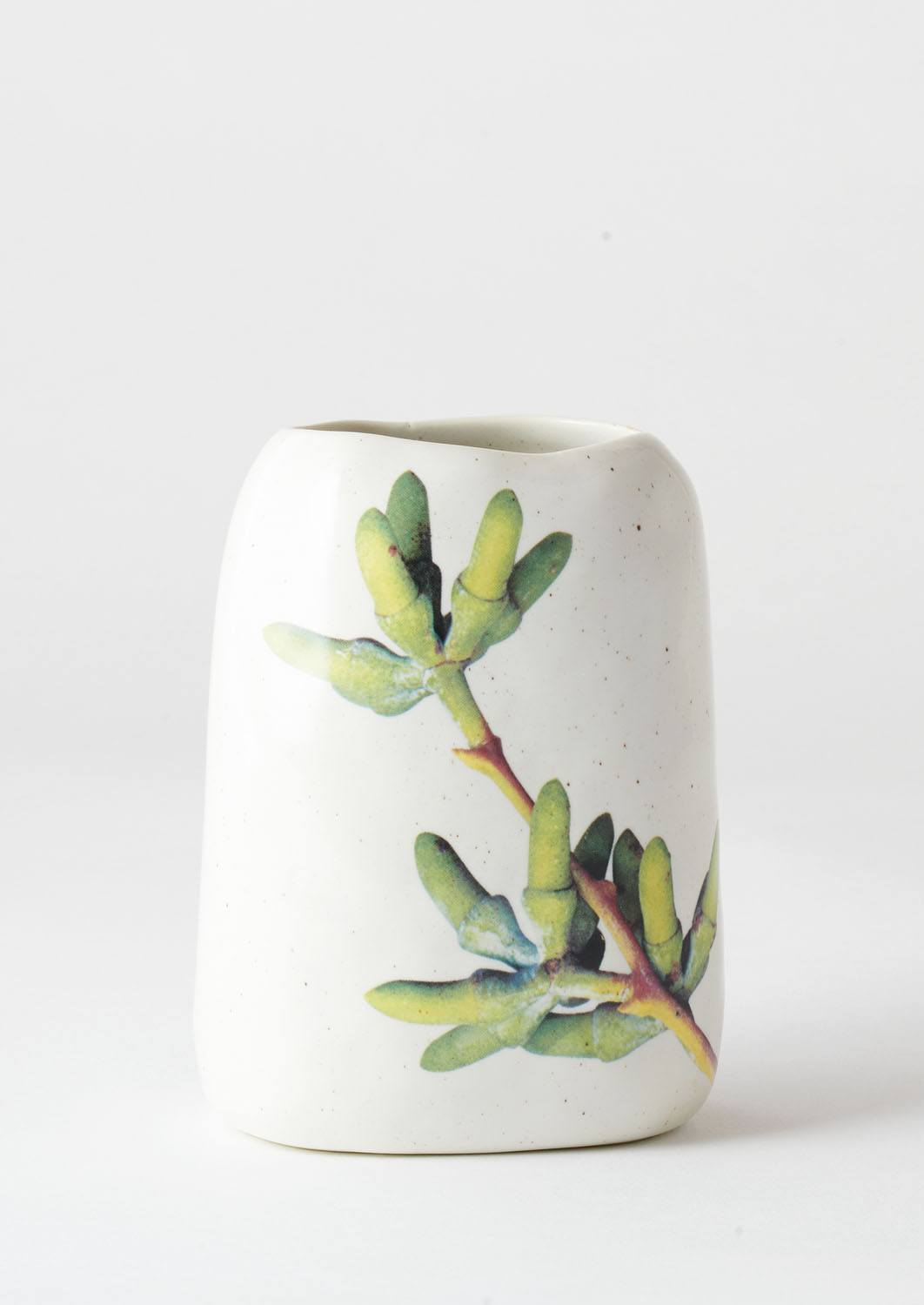 Pebble Vase Green Eucalyptus Buds