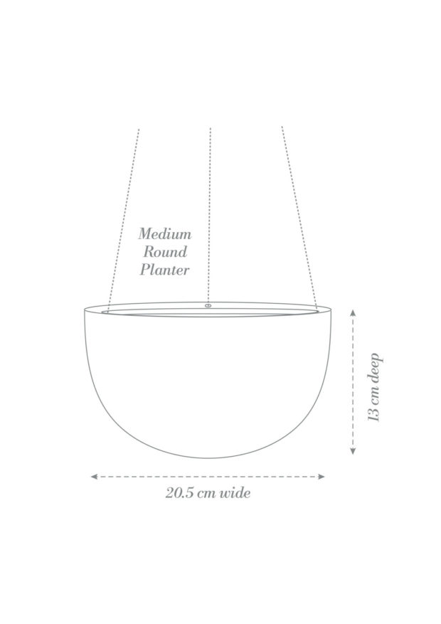 Round Hanging Planter Medium Product Diagram