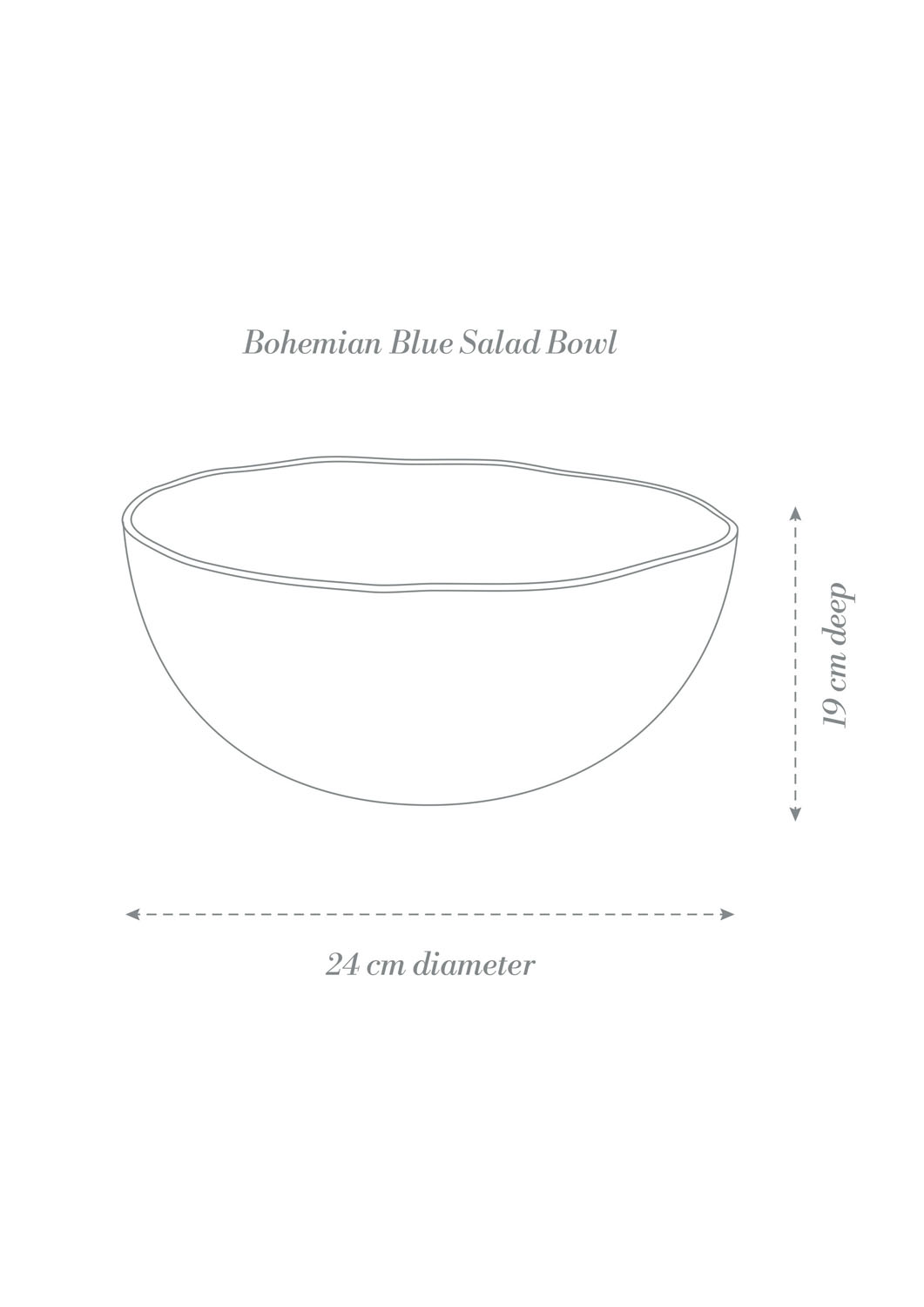 Bohemian Blue Dinner Set Salad Bowl Product Diagram