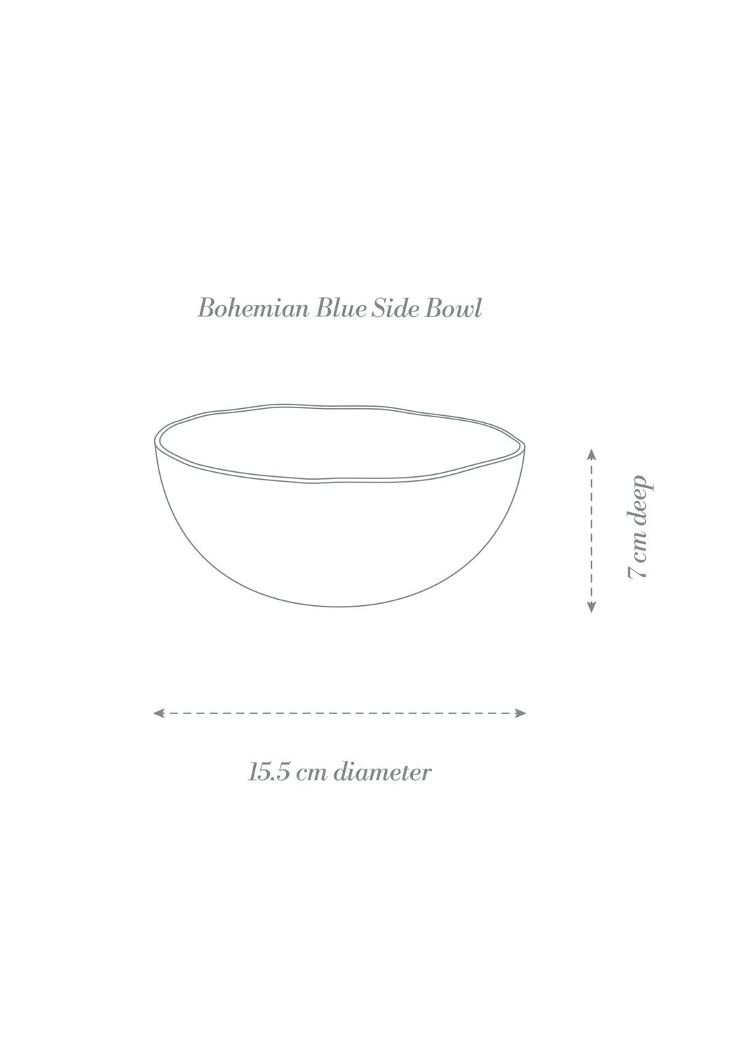 Bohemian Blue Dinner Set Side Bowl Product Diagram