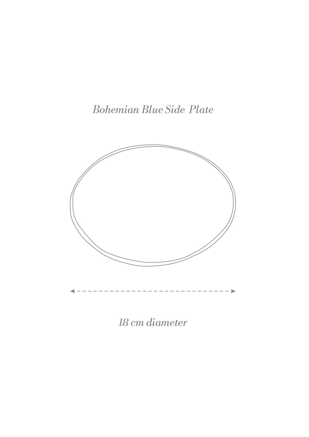 Bohemian Blue Dinner Set Side Plate Product Diagram