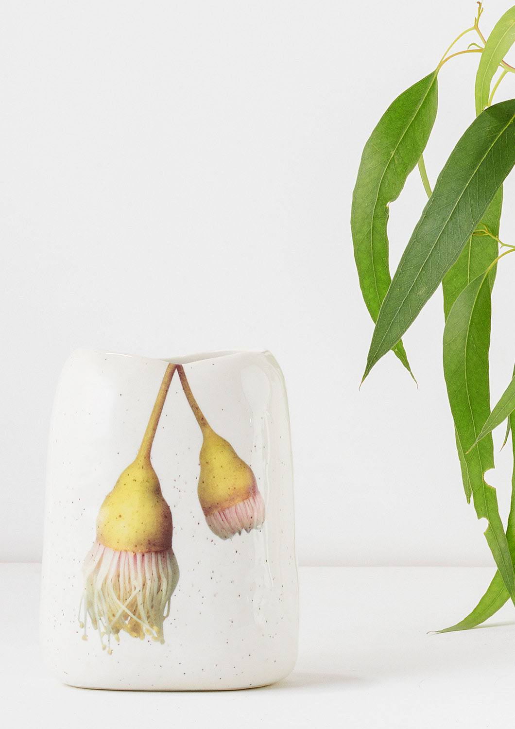 Angus & Celeste Pebble Vase Hanging Yellow Gum