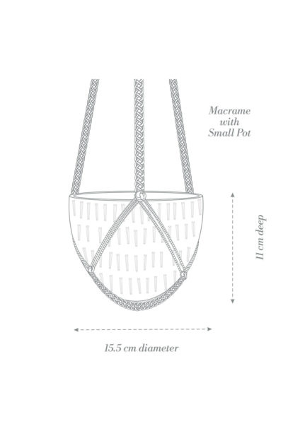 Macrame Hanging Planter Small Product Diagram