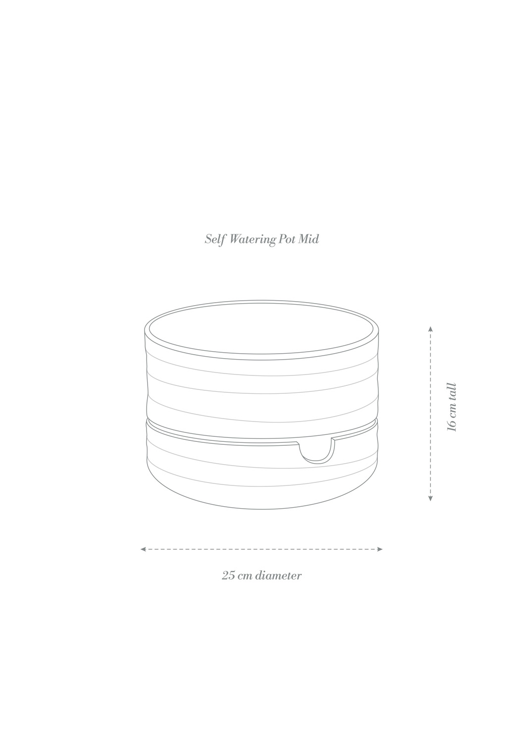 Angus & Celeste Self Watering Plant Pot Mid Product Diagram