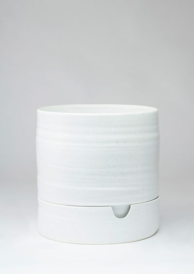 Angus & Celeste Self Watering Plant Pot Tall White Speckle