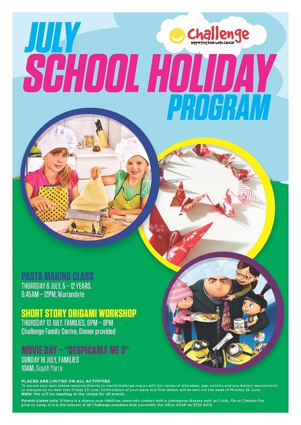Challenge's July School Holiday Poster 2017 - Challenge