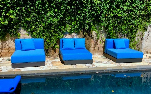 These Cushions were custom made in DRICELL outdoor foam and Sunbrella  fabric. - Custom Made Outdoor Cushions. - The Foam Booth