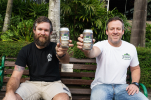 Eumundi Brewery's Allan Tilden and Chris Sheehan with the new cans of limited release Black Cockatoo Smoked Lager (2)