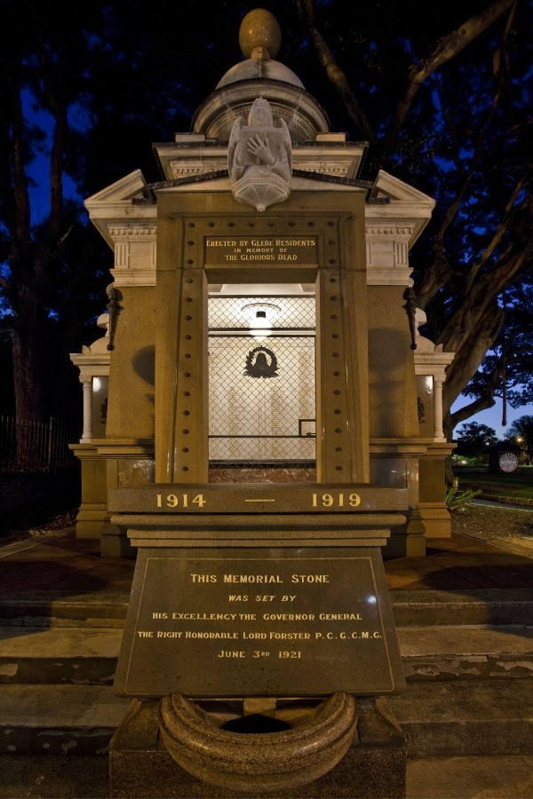 Glebe War Memorial in Foley Park