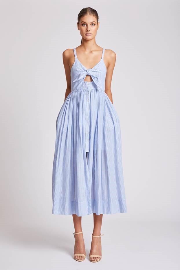 Shona Joy St Martin Tie Front Midi Dress