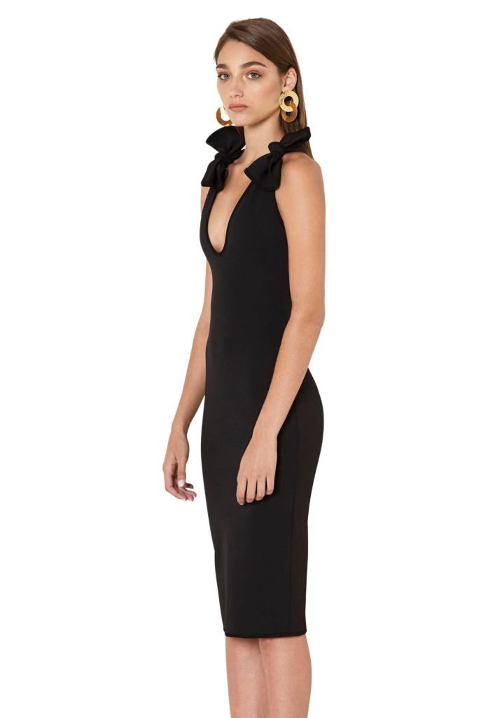 ByJohnny V-Neck Bow Shoulder Dress