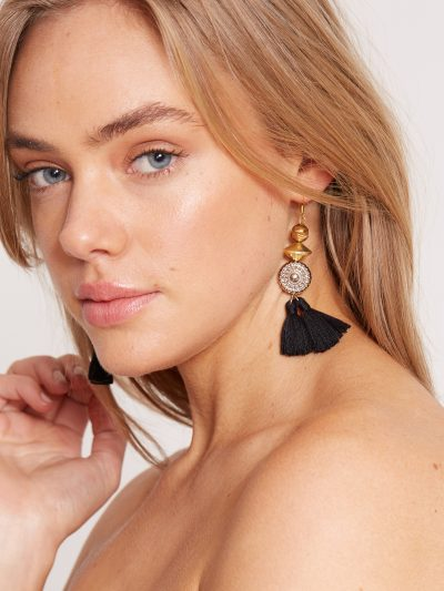 Natalie Alamein Black Geisha Earrings