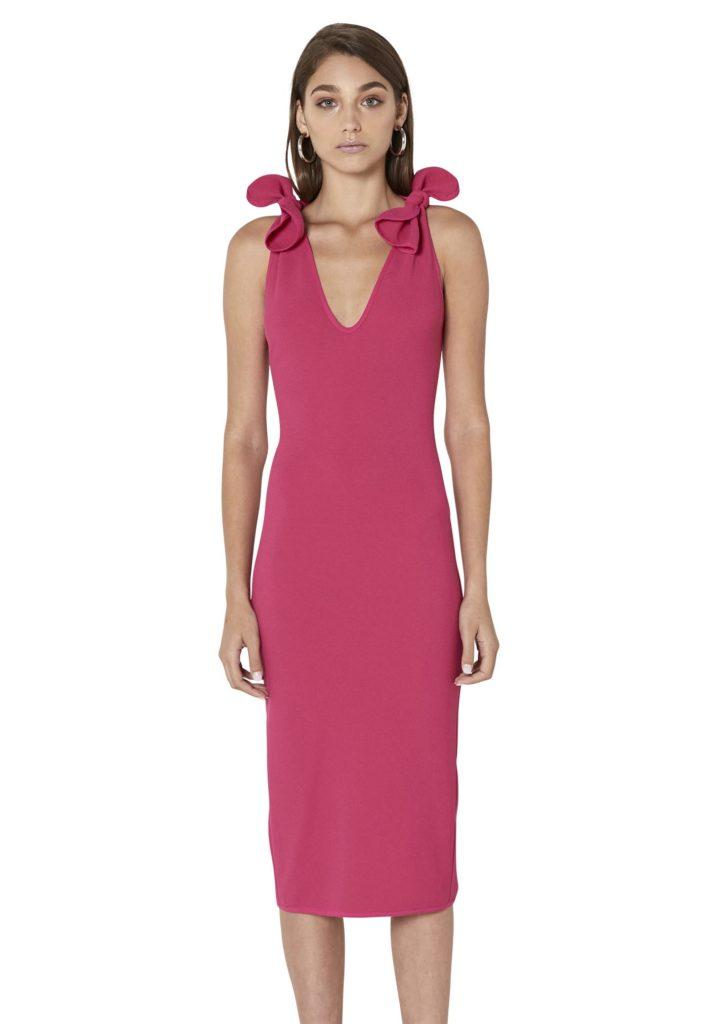 ByJohnny V-Neck Bow Shoulder Dress Pink