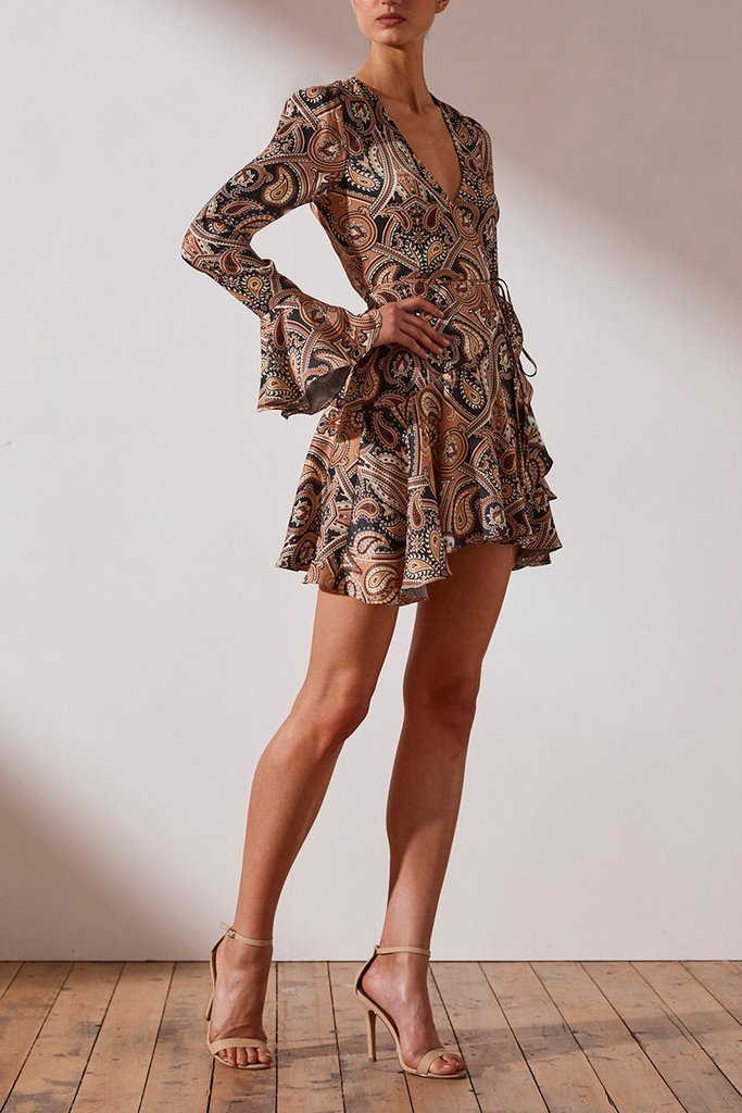 Shona Joy Hendrix Frill Cuff Wrap Mini Dress
