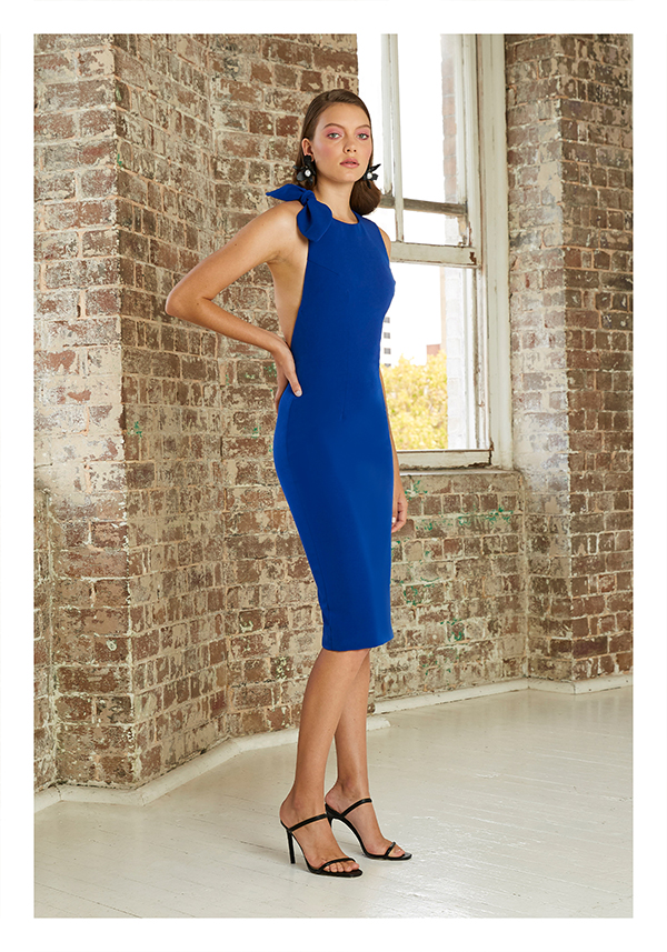 By Johnny Open Bow Back Midi Dress Dark Blue
