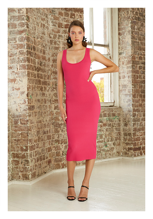 By Johnny Double Rib Scoop Midi Dress (Pink)