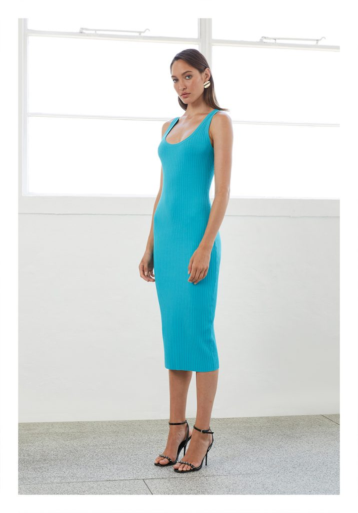 By Johnny Double Rib Scoop Midi Dress (Electric Blue)