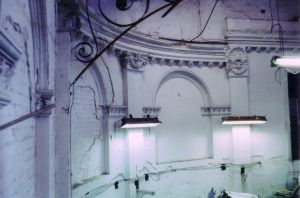 Detail view of the interior wall at the King Street end of the Trocadero building. Taken by R. Thorne.