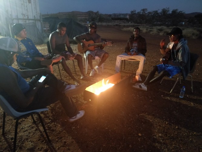 Musicians at the campfire