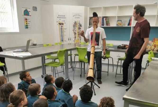 Musicians teach didgeridoo to a classroom.